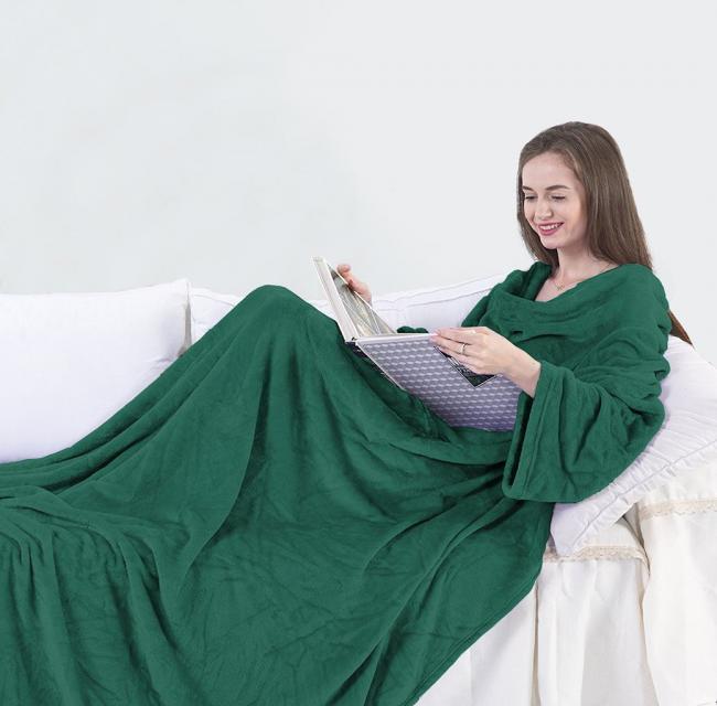 Koc z rękawami Lazy - butelkowa zieleń
