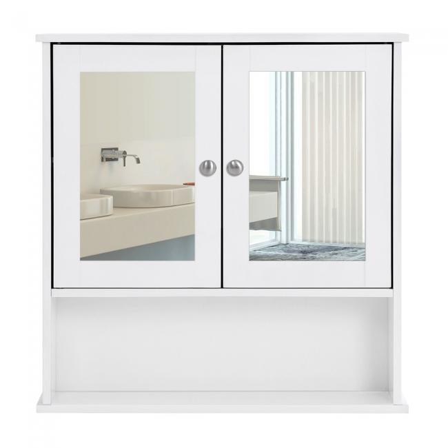 Szafka łazienkowa z lustrami, biała