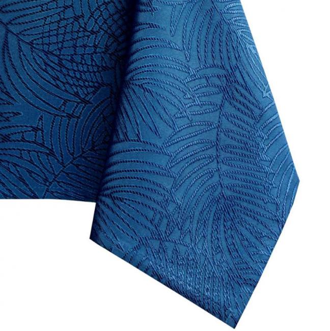 Amelia Home - Zestaw obrus + bieżnik - wzór roślinny - kolor niebieski -   różne rozmiary