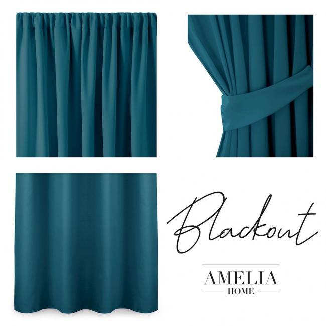 AmeliaHome - Zasłona Blackout na taśmie - 140x245 cm - niebieska