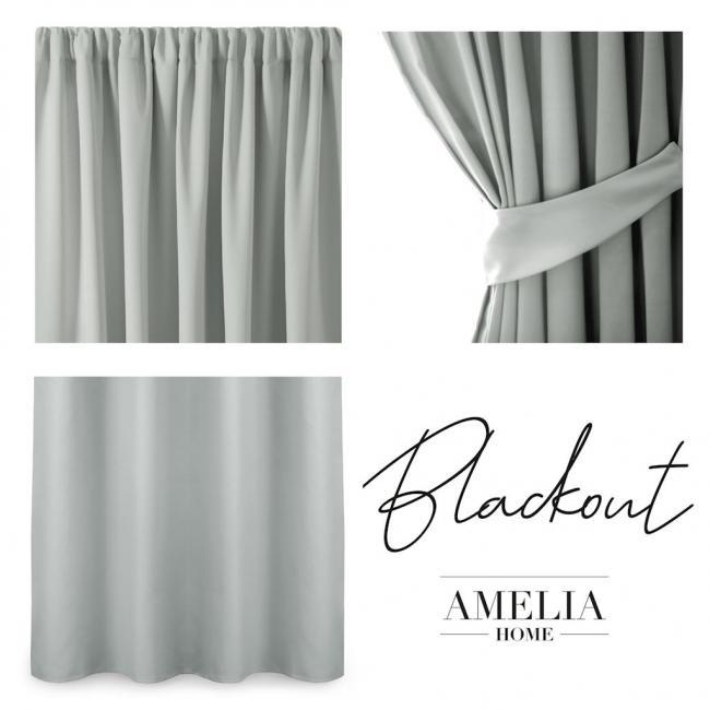 AmeliaHome - Zasłona Blackout na taśmie - 140x245 cm - srebrna
