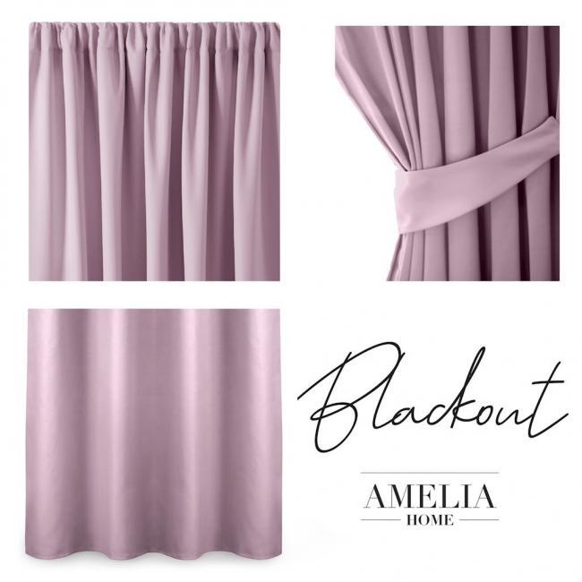 AmeliaHome - Zasłona Blackout na taśmie - 140x245 cm - różowa