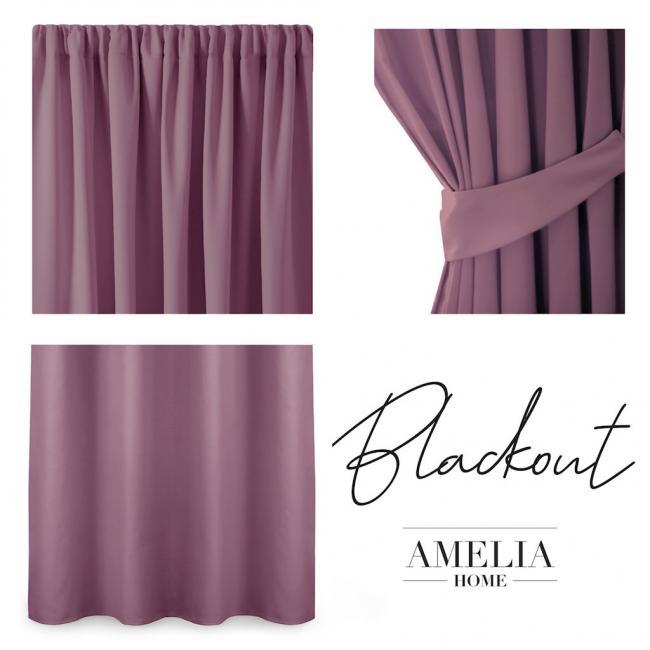 AmeliaHome - Zasłona na taśmie - 140x245 cm - fiołkowo-różowa