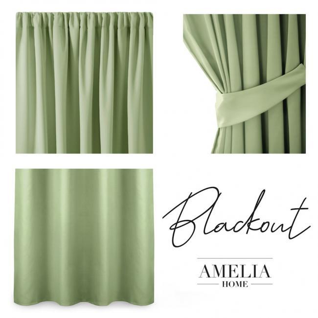 AmeliaHome - Zasłona na taśmie - 140x245 cm - jasna zieleń