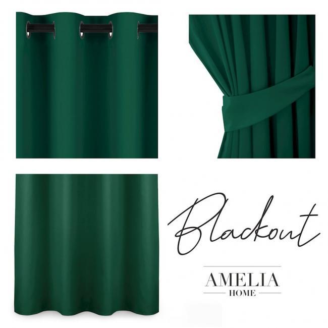AmeliaHome - Zasłona na przelotkach - 140x175 - ciemna zieleń