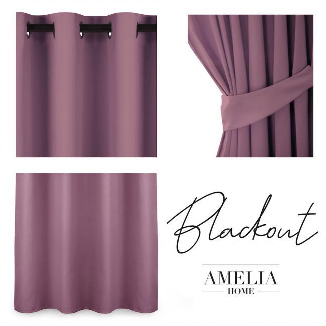 AmeliaHome - Zasłona na przelotkach - 140x175 - fioletowo-różowa