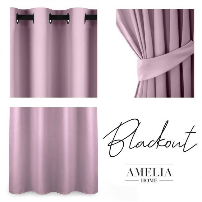 AmeliaHome - Zasłona na przelotkach - 140x175 - różowa