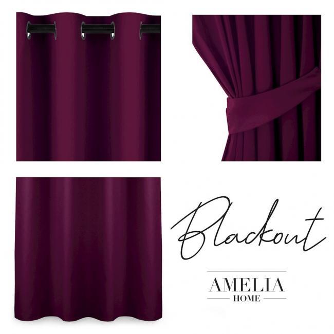 AmeliaHome - Zasłona na przelotkach - 140x175 - fioletowa
