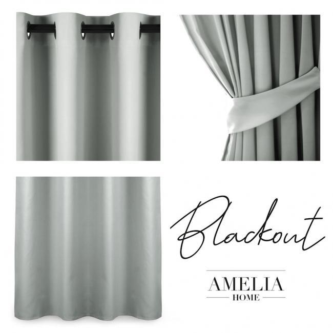 AmeliaHome - Zasłona na przelotkach - 140x175 - srebrna