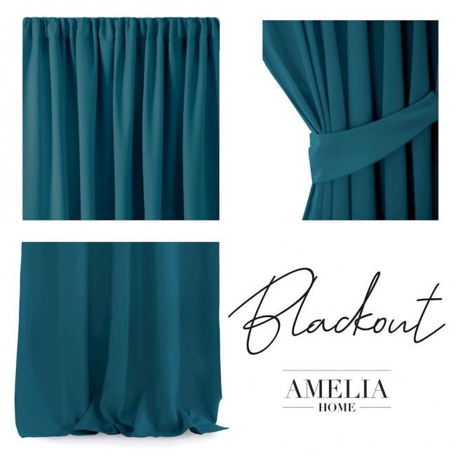 AmeliaHome - Zasłona na taśmie - 140x270 cm - niebieska