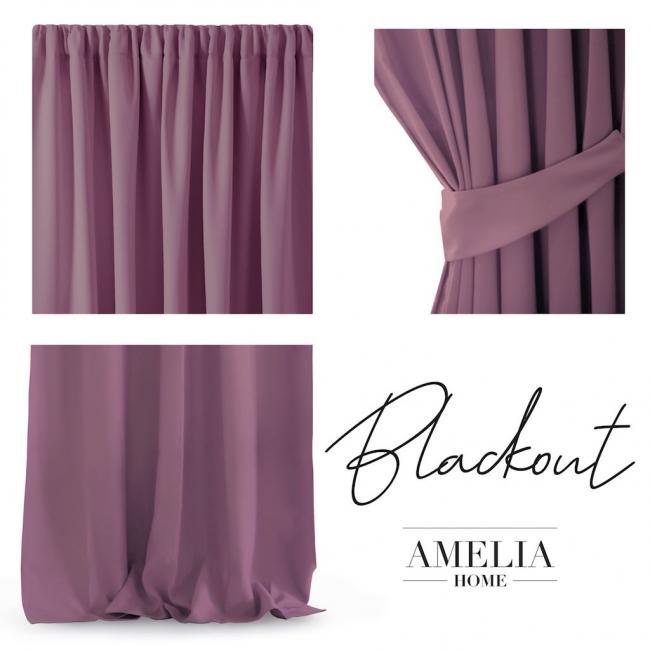 AmeliaHome - Zasłona na taśmie - 140x270 cm - fiołkowo-różowa
