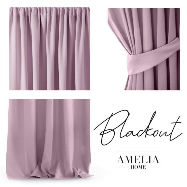 AmeliaHome - Zasłona na taśmie - 140x270 cm - różowa