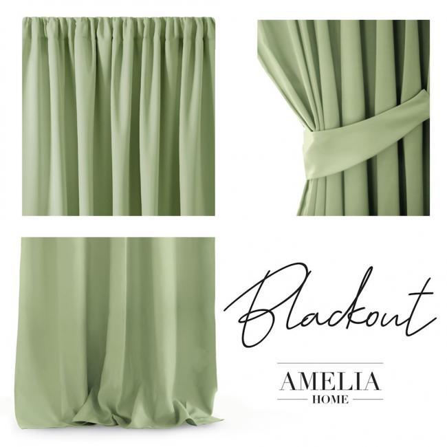 AmeliaHome - Zasłona na taśmie - 140x270 cm - jasno zielona