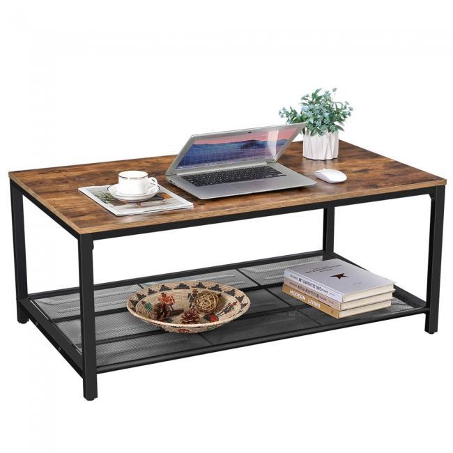 Industrialny stolik kawowy z półką do przechowywania LOFT