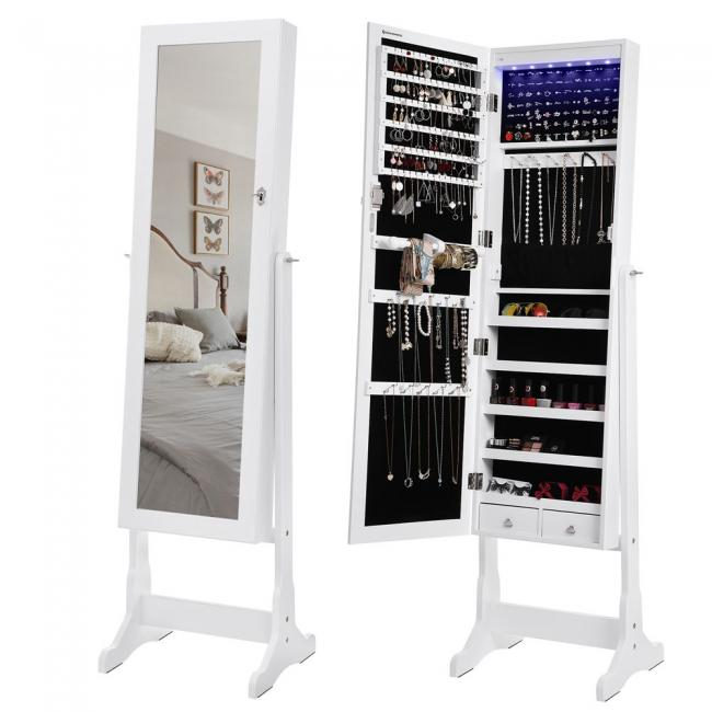 Lustro stojące / szafka z systemem do przechowywania biżuterii- białe