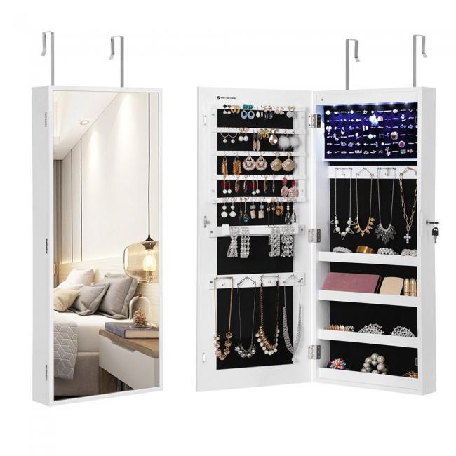 Lustro do zawieszenia na drzwiach / szafka z systemem do przechowywania biżuterii- białe
