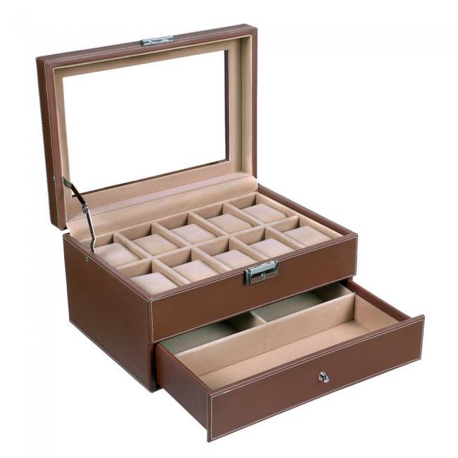 Szkatułka na zegarki z wysuwaną szufladką-brązowa