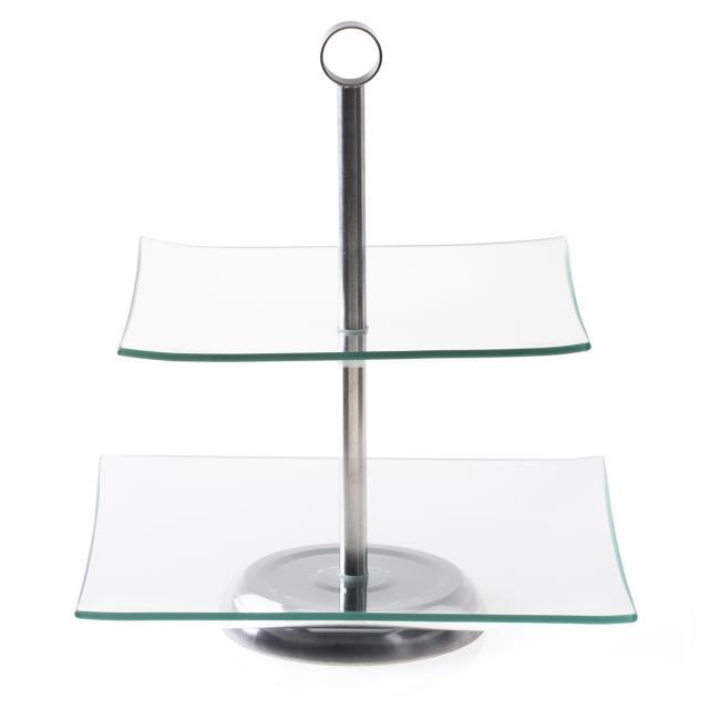 DecoKing - Patera Szklana 2-Piętrowa  kwadratowa