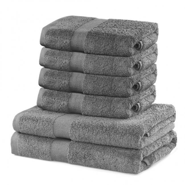 DecoKing - Ręcznik bawełna - zestaw 6 sztuk - srebrny