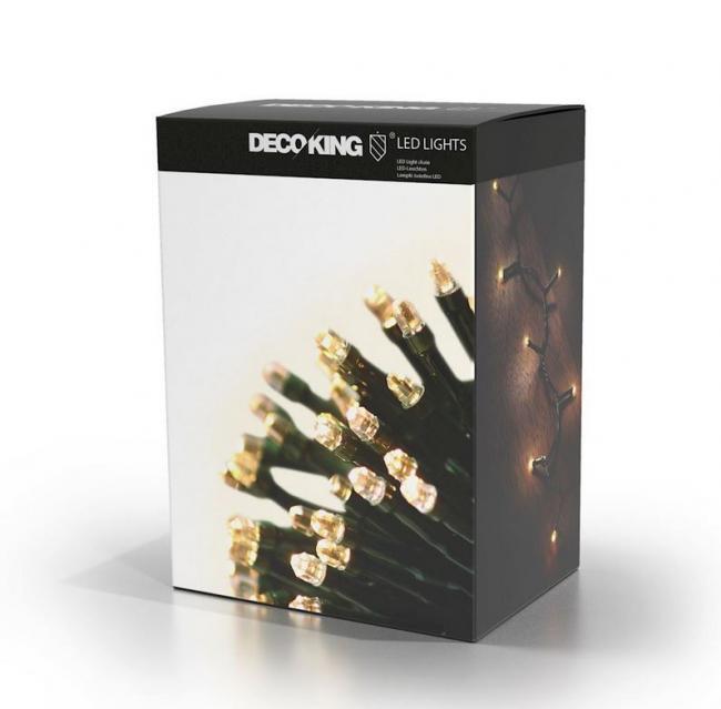 DecoKing - Lampki świetlne LED - 60 żarówek - światło białe, stałe - 7,43m