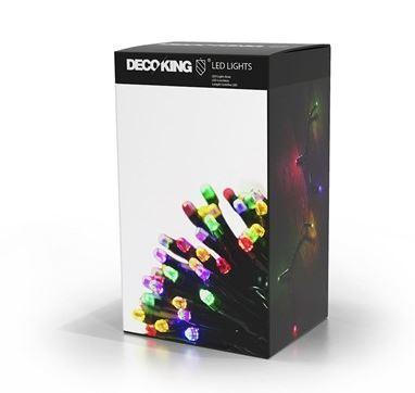 DecoKing - Lampki świetlne LED - 60 żarówek, kolorowe , stałe - 7,5m