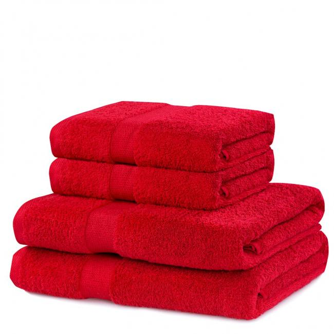DecoKing - ręcznik 100% bawełny - zestaw 4 sztuk -  bordowy