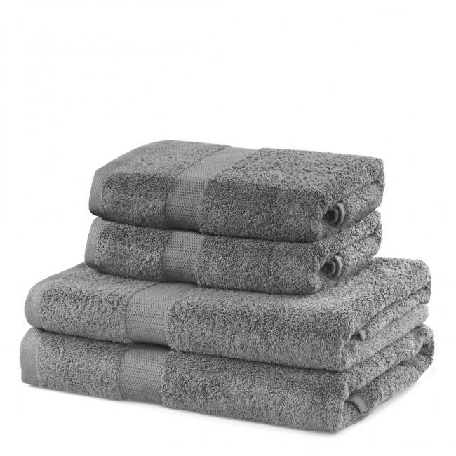 DecoKing - ręcznik 100% bawełny - zestaw 4 sztuk -  srebrny