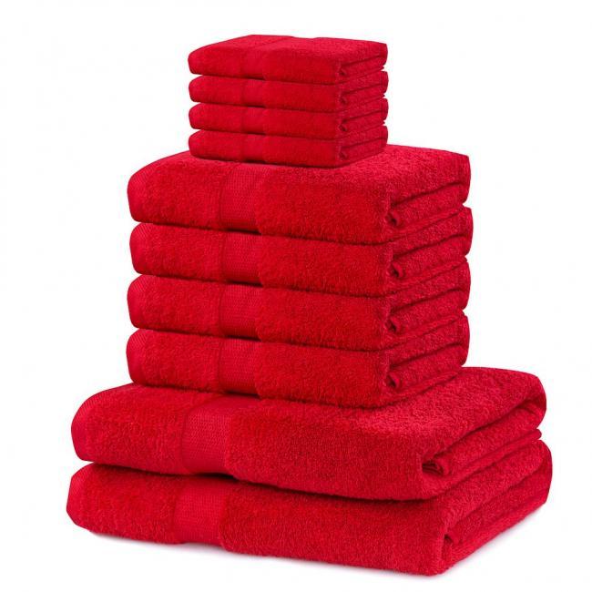 DecoKing - ręcznik 100% bawełny - zestaw 10 sztuk -  bordowy