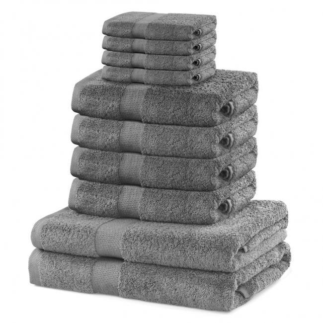 DecoKing - ręcznik 100% bawełny - zestaw 10 sztuk -  srebrny
