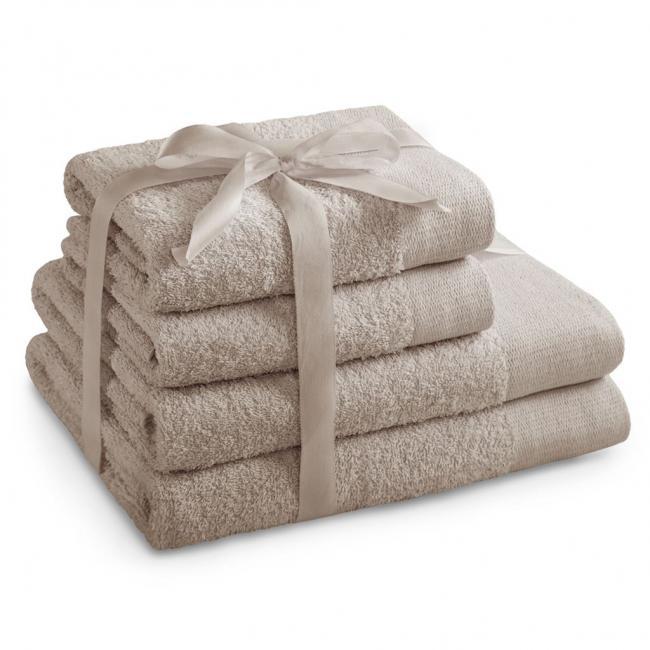 AmeliaHome - ręcznik 100% bawełny - zestaw 4 sztuk -  beżowy