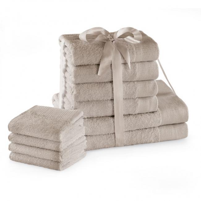 AmeliaHome - ręcznik 100% bawełny - zestaw 6 sztuk -  beżowy
