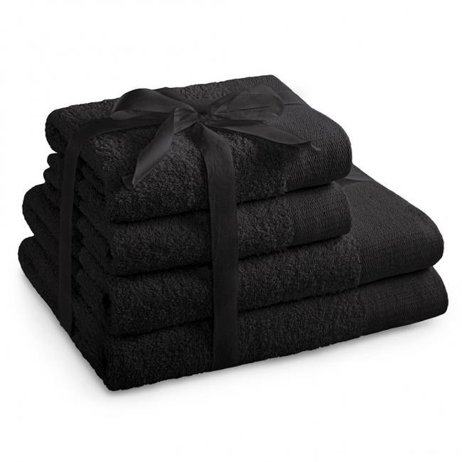 AmeliaHome - ręcznik 100% bawełny - zestaw 4 sztuk -  czarny