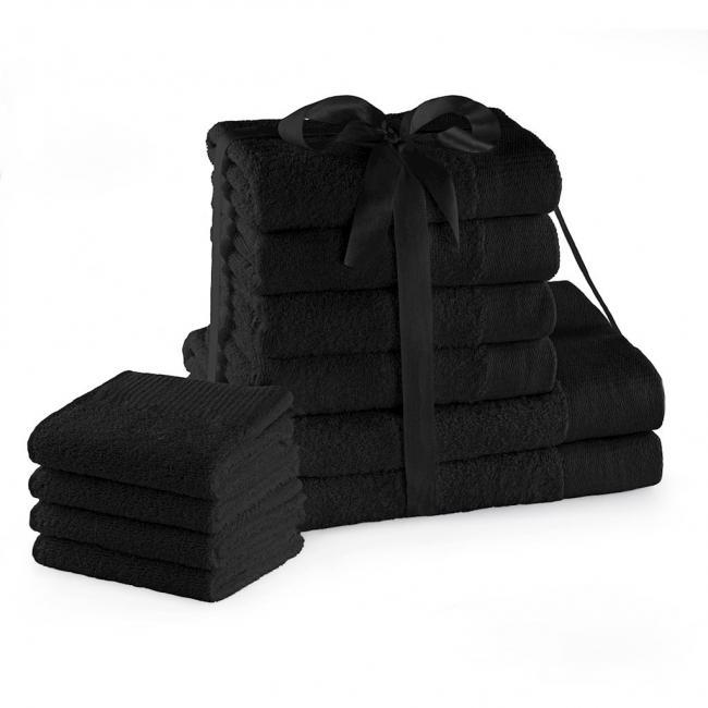 AmeliaHome - ręcznik 100% bawełny - zestaw 6 sztuk -  czarny