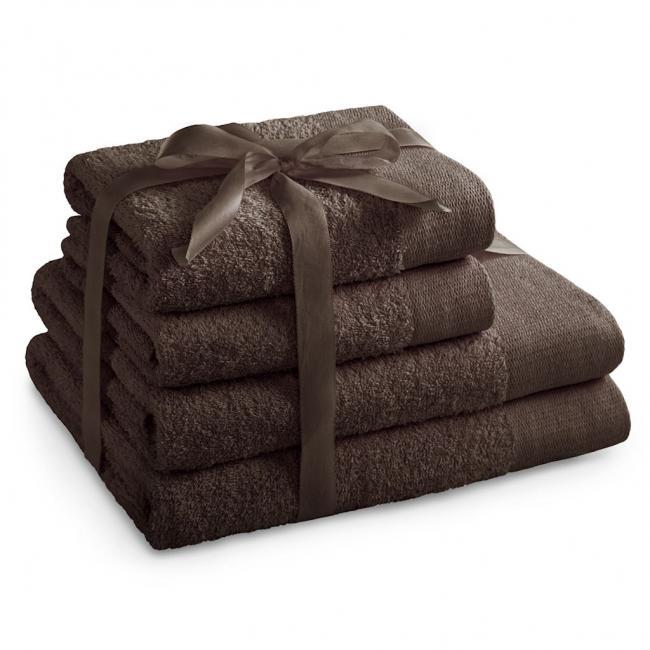 AmeliaHome - ręcznik 100% bawełny - zestaw 4 sztuk -  brązowy