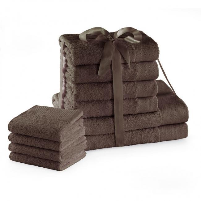 AmeliaHome - ręcznik 100% bawełny - zestaw 10 sztuk -  brązowy