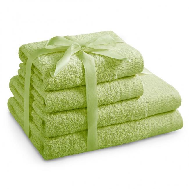AmeliaHome - ręcznik 100% bawełny - zestaw 4 sztuk -  jasnozielony
