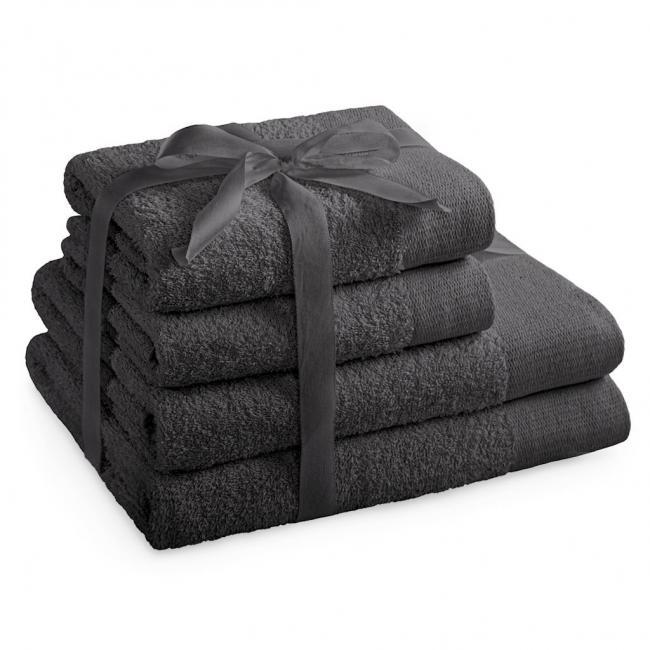 AmeliaHome - ręcznik 100% bawełny - zestaw 4 sztuk -  grafitowy