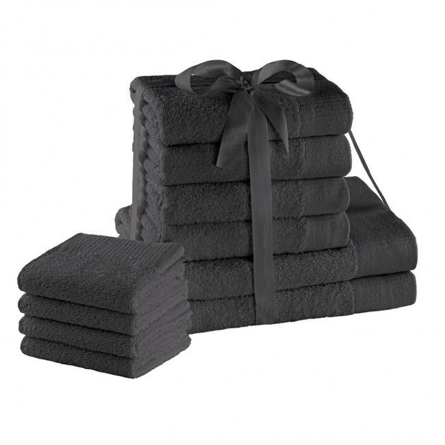 AmeliaHome - ręcznik 100% bawełny - zestaw 10 sztuk -  grafitowy