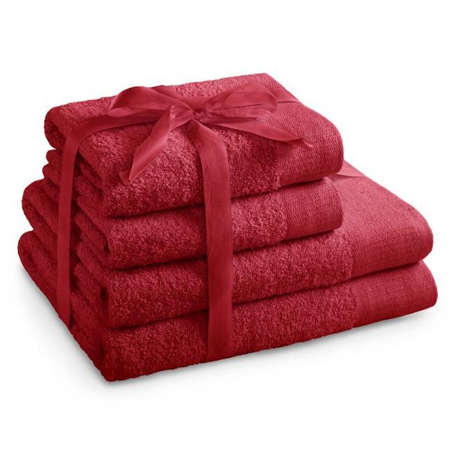 AmeliaHome - ręcznik 100% bawełny - zestaw 4 sztuk -  ciemnoczerwony