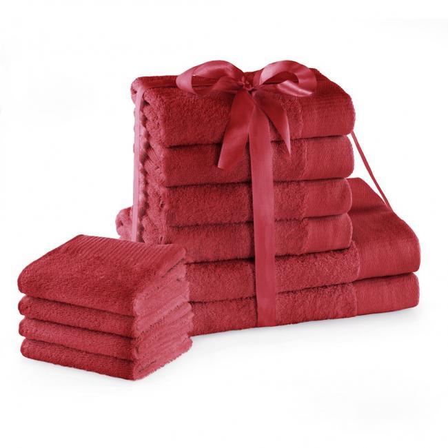 AmeliaHome - ręcznik 100% bawełny - zestaw 10 sztuk -  ciemnoczerwony