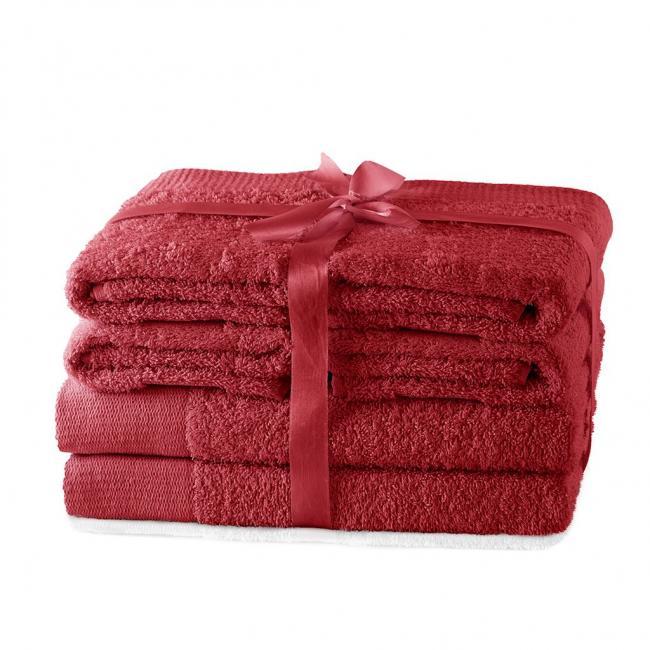 AmeliaHome - ręcznik 100% bawełny - zestaw 6 sztuk -  ciemny czerwony