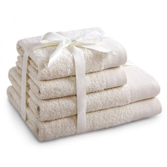 AmeliaHome - ręcznik 100% bawełny - zestaw 4 sztuk -  ecru