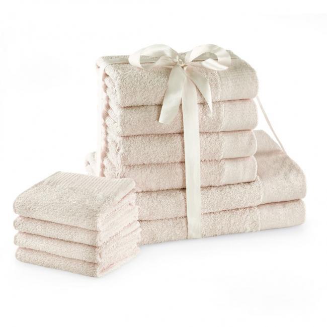 AmeliaHome - ręcznik 100% bawełny - zestaw 10 sztuk -  ecru