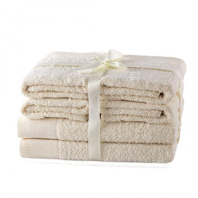 AmeliaHome - ręcznik 100% bawełny - zestaw 6 sztuk -  ecru