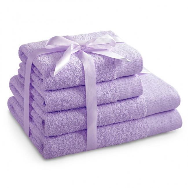 AmeliaHome - ręcznik 100% bawełny - zestaw 4 sztuk -  liliowy