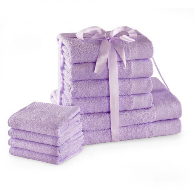 AmeliaHome - ręcznik 100% bawełny - zestaw 10 sztuk -  liliowy