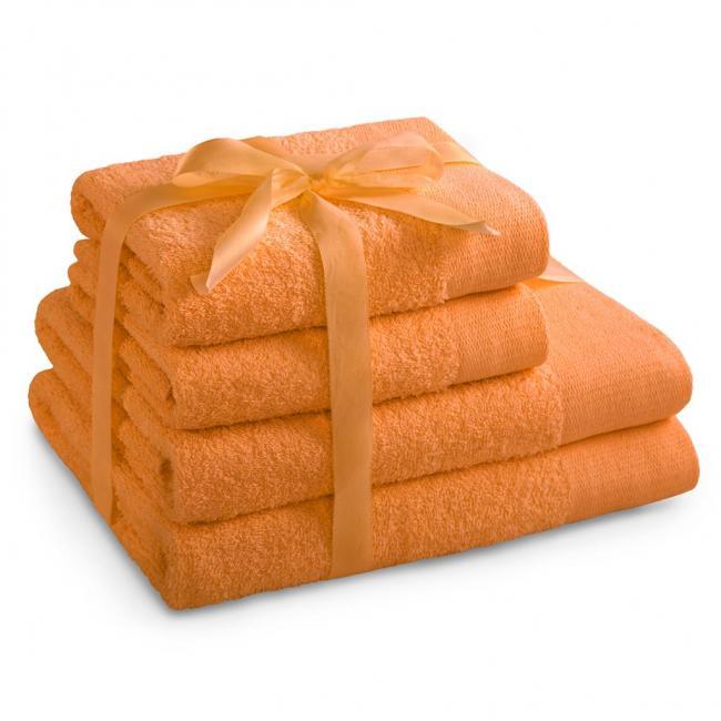 AmeliaHome - ręcznik 100% bawełny - zestaw 4 sztuk -  pomarańczowy
