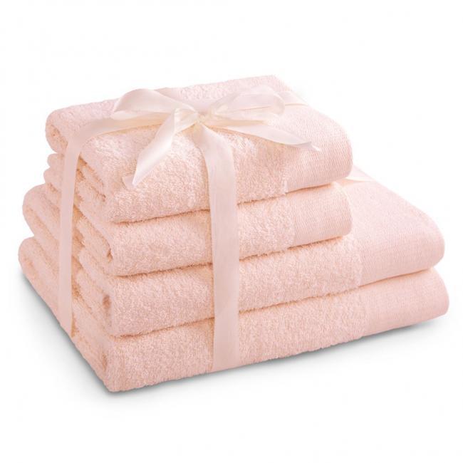 AmeliaHome - ręcznik 100% bawełny - zestaw 4 sztuk -  różowy