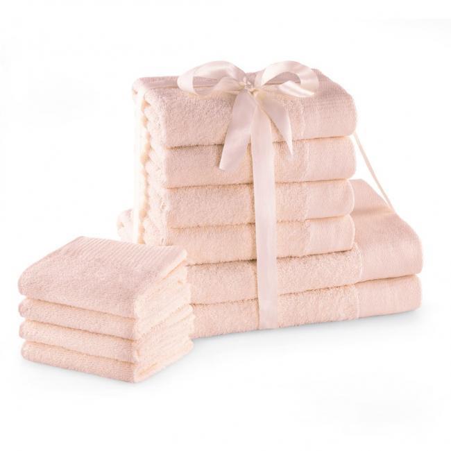 AmeliaHome - ręcznik 100% bawełny - zestaw 10 sztuk -  różowy