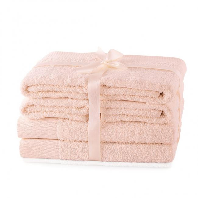AmeliaHome - ręcznik 100% bawełny - zestaw 6 sztuk -  różowy